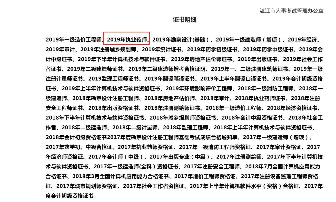 广东湛江执业药师资格考试证书领取