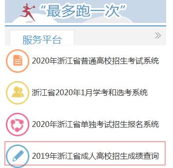 2020年浙江省成人高校招生成绩查询系统